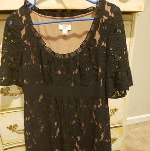 Ann Taylor Loft black lace party dress
